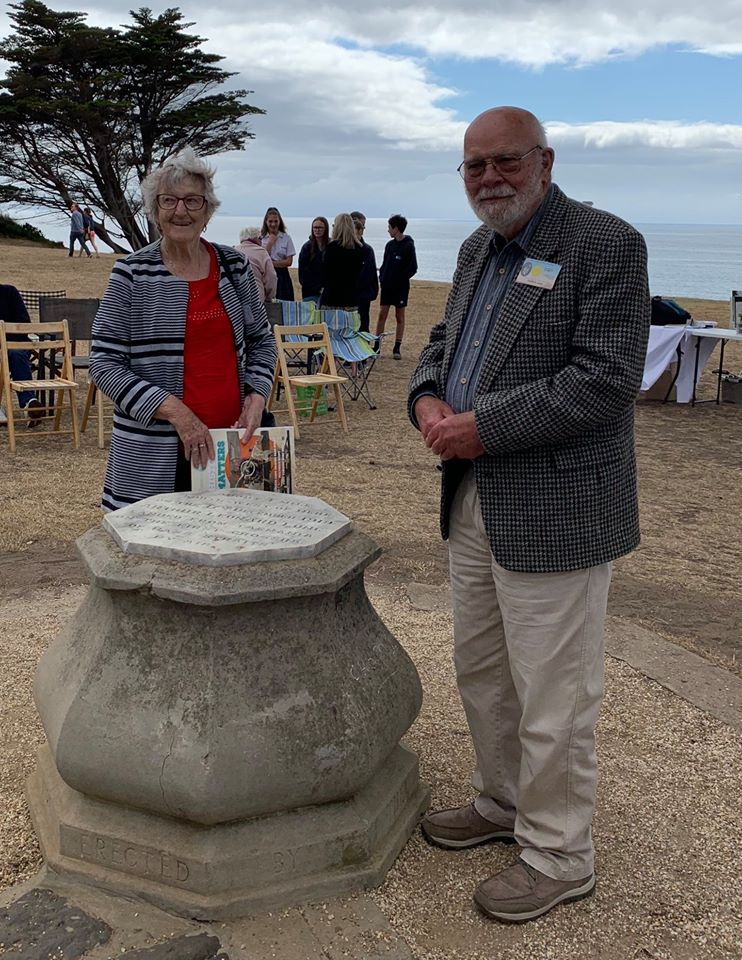 Author Pirrie Shiel and son David Long at Torquay memorial to first air crossing of Bass Strait by Lieut Arthur Long